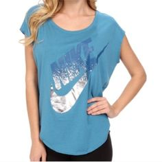 Nike metallic signal tee New with tags, Nike metallic boxy signal tee in blue. This is somewhat oversized, and very flattering on!! Nike Tops Tees - Short Sleeve
