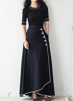 High Waist Black Button Embellished Skirt on sale only US$35.37 now, buy cheap High Waist Black Button Embellished Skirt at liligal.com