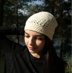 Handmade Hat Crochet Hat Gift Super Soft Yarn With by MariARTStore