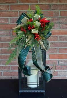 Christmas Lantern Swag with Cardinal, Lantern Centerpiece, Holiday gifts, Lantern Swag, Free Shipping
