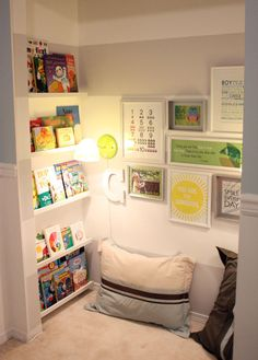 Reading Nook. Ikea shelves -- Ribba. This is neat, although whoever has enough storage/closet space to be able to use an entire closet nook area for this ... I envy you.  I DO!!!