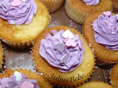 Purple cupcakes with blackcurrants frosting. Enjoy