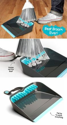 The best broom ever! | techlovedesign.com This looks soo cool!  Why don't they sell these every where?  The hold the dust pan with your foot is awesome & how many times do we have to take all the dog fur balls off the end of the broom?!  A must get!!: