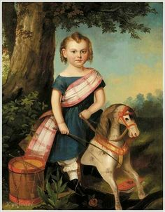 Child with Rocking Horse, 19thC, American School