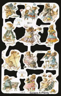 Cute Bunny /& Mice Animals  1745 Die Cut Scrap Mamelok English Embossed