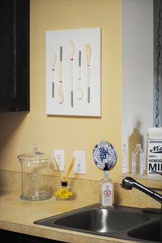 From My Grey Desk Blog: DIY kitchen art  @Shannon Chaffin - For your new apartment?