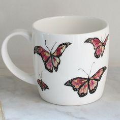 Anna Wright flutterbies york shaped fine bone china mug Anna Wright, China Mugs, Mixed Media Collage, Bone China, York, Shapes, Illustration, Illustrations