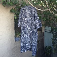 Madewell Long Cover Up/Robe 100% Cotton Indigo Printed Robe Madewell Jackets & Coats