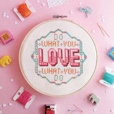 Quote Cross stitch - Do What You Love What You Do - Modern cross stitch pattern PDF - Instant download