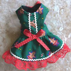 Gingerbread Christmas DOG HARNESS DRESS