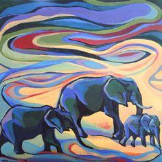 "Rachel Thompson's Abstract Original Acrylic Painting of Elephants  8"" X 8"" Etsy shop: PaintByRach"
