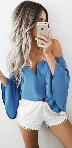 Off the shoulder top and white shorts