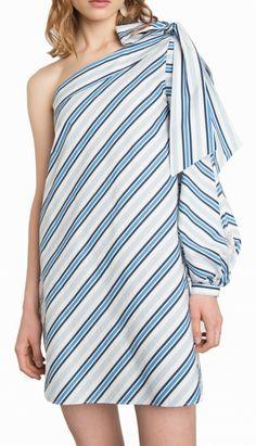 striped bow tie one sleeve dress