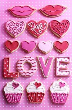 Regalos originales para mi novio para san valentin: Galletas de diferentes formas y mucho amor! Pulsa para ver las recetas!