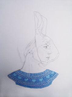 Rabbit portrait illustration by Denise Nestor