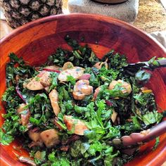 Massaged kale, collards, and Swiss chard with garlic rosemary & lemon mushrooms that were deglazed in white wine and tomato paste, organic Italian chicken sausage, golden raisins, and red pepper flakes. (Gluten-free, dairy-free, and high-protein)