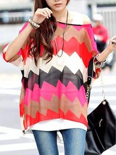LadyIndia.com # Fashion Trend, Pink Zig Zag Print Chiffon Top - Designer Printed Tops, Designer Top, Fashion Trend, Tops, Women Wear, Girls Tops, https://ladyindia.com/collections/western-wear/products/pink-zig-zag-print-chiffon-top-designer-printed-tops