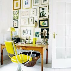 love the yellow POP of color and the gallery wall is fantastic.