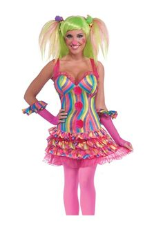 Tootsie The Clown Circus Sweetie Adult Halloween Costume Standard Size
