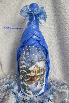 Декупаж - Сайт любителей декупажа - DCPG.RU | Некоторые новогодние бутылки Click on photo to see more! Нажмите на фото чтобы увидеть больше! decoupage art craft handmade home decor DIY do it yourself bottle