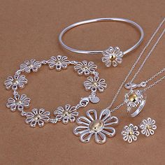 Sterling Solid Silver Flowers Bracelet&Ring&Earring&Necklace Set WHS288 + box