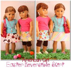 Free doll clothes pattern for an American Girl Doll Easter reversible skirt #sewing #AmericanGirl