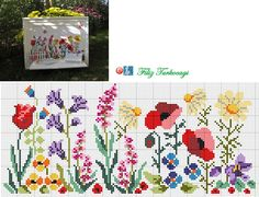 Designed and stitched by Filiz Türkocagi. Cross Stitch Rose, Cross Stitch Borders, Cross Stitch Flowers, Cross Stitch Designs, Cross Stitch Charts, Cross Stitching, Cross Stitch Embroidery, Embroidery Patterns, Hand Embroidery