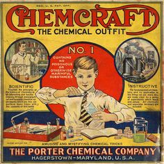 "Chemcraft Chemical Outfit #1. ""Remember the good old science kits of yesteryear that contained things like cyanide, uranium, and ammonium nitrate, as well as Bunsen burners and glass vials that are now considered too dangerous for children? Why, you can't even blow up the kitchen anymore!"" Caption at link"