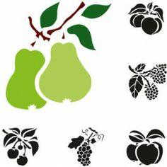 6 pochoirs Electrostatique - Fruits
