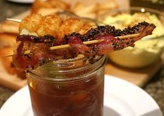 The best Bloody Mary ever, with a side of bacon and tater tots too!  What's not to like?  | Noble Pig