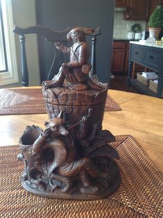 Black Forest Hare and Fox Tobacco Jar. Swiss circa 1880 Alpenholz Antiques