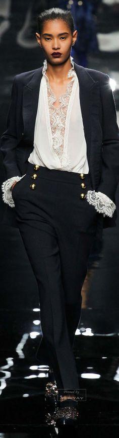 Ermanno Scervino Fall 2015. Black with white lace cuffs. Pretty.