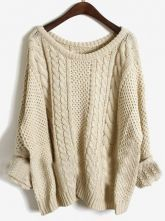 Apricot Batwing Long Sleeve Pullovers Sweater $45.76 - NEED