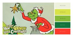 How the Grinch Stole Christmas Color Palette Red and Green Theme Christmas Float Ideas, Diy Christmas Tree Topper, Grinch Christmas Tree, Christmas 2017, Christmas Colors, Christmas Cookies, Christmas Ideas, Christmas Crafts, Grinch Yard Decorations