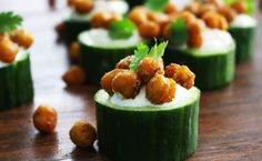 Raita Stuffed Cucumber Cups with Roasted Madras Garbanzo Beans