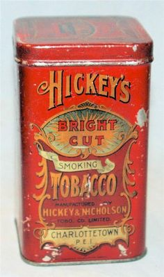 Vintage Hickey's Tobacco Tin Can Charlottetown, Prince Edward Island RARE Canada