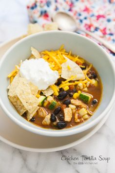 Chicken Tortilla Soup with Black Beans and Zucchini - The Little Kitchen