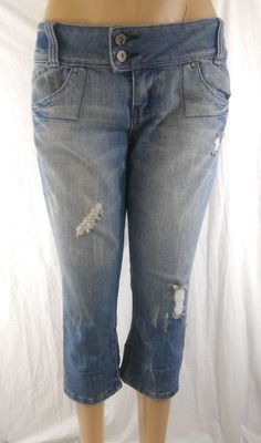Almost Famous Size 11 Crop Blue Jeans Women's Capri Distressed Ripped #AlmostFamous #CapriCropped