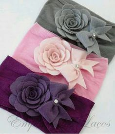 Wide knot band, w/o the bow Felt Headband, Baby Headbands, Felt Flowers, Fabric Flowers, Diy Hair Accessories, Bandeau, Baby Bows, Flower Tutorial, Flower Crafts