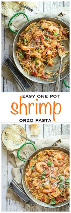 Easy one pot shrimp orzo. Juicy shrimp cooked in a tomato, kale and balsamic stew and served with orzo pasta | Foodness Gracious