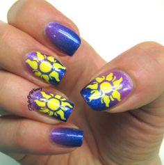 Flight Of Whimsy #nail #nails #nailart. Tangled theme.