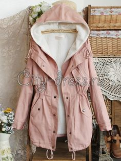 Фото розовая утепленная парка куртка женская на флисе