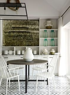 contemporary dining room with encaustic tiles