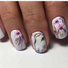 По-цвету  нравится . Люблю темные яркие , но не на себе Animal Nail Designs, Fingernail Designs, White Nail Designs, Nail Art Designs, Horse Nail Art, Horse Nails, The Art Of Nails, Nailart, Unicorn Nails
