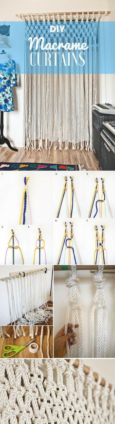 Beautiful cool Check out how to easily make your own DIY Macrame Curtains Industry Standard Des… by www.danazhome-dec… The post cool Check out how to easily make your own DIY Macrame Curtains I . Macrame Art, Macrame Projects, Craft Projects, How To Macrame, Home Decor Accessories, Decorative Accessories, Ideas Vintage, Diy And Crafts, Arts And Crafts