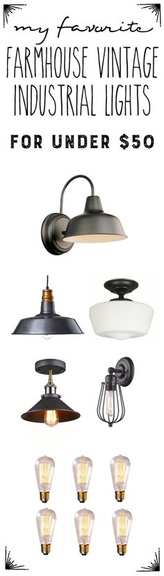 Update your cottage farmhouse style with these vintage-inspired industrial farmhouse lights that fit in any DIY home decor budget. 10 Beautiful Industrial Style Bathroom Renovation Plans To Nail Your City Digs Farmhouse Light Fixtures, Industrial Light Fixtures, Farmhouse Lighting, Industrial Lighting, Vintage Lighting, Home Lighting, Bedroom Lighting, Lighting Ideas, Ceiling Lighting