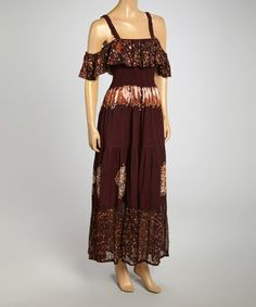This Brown & Green Floral Tie-Dye Maxi Dress by Fashion Terminal is perfect! #zulilyfinds