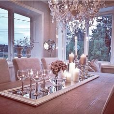 Center Piece idea for a long table. Love the modern elegance. Can go with and color scheme.