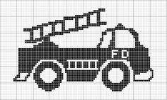 Free Cross Stitch Pattern - Angels Crochet - Firetruck Chart