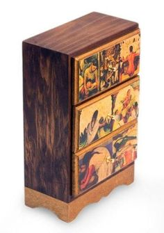 Frida Decoupage Wood Jewelry Box, Multicolor, 'Diego Rivera's Mexico' @ https://memorablegiftsdecor.com/collections/boxes-vases/products/frida-decoupage-wood-jewelry-box-multicolor-diego-riveras-mexico #jewelryboxes #DecorativeBoxes #homedecor